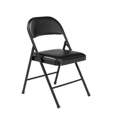 Black Vinyl Padded Seat Stackable Folding Chair (Set of 4)