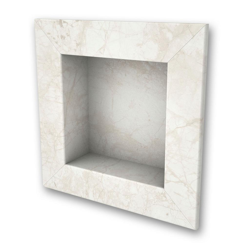 11 in. x 11 in. Square Recessed Shampoo Caddy in Botticino