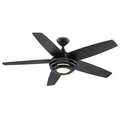 Petani 52 in. LED Integrated Light 5 Blade Matte Black Finish Ceiling with Remote Control