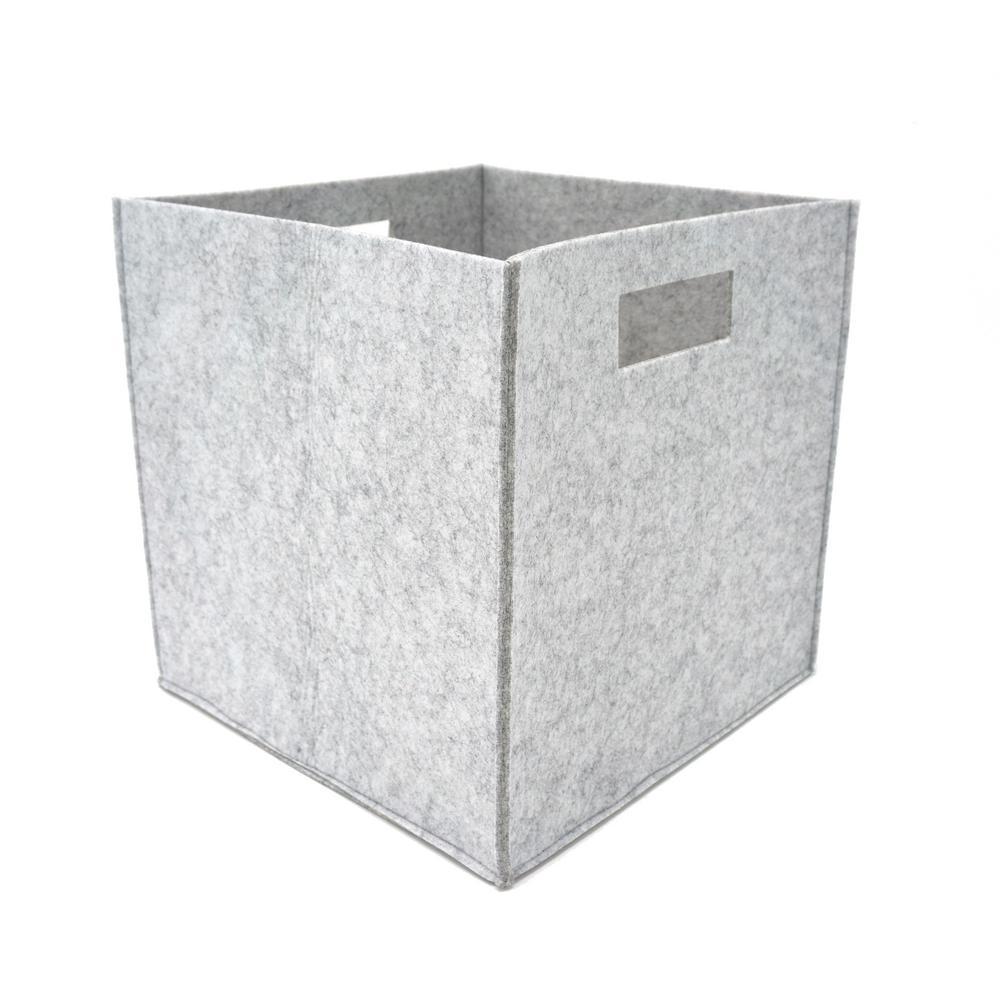 12 in. L x 12 in. W x 12 in. H Grey Felt Fabric Storage Cube (Set of 2)