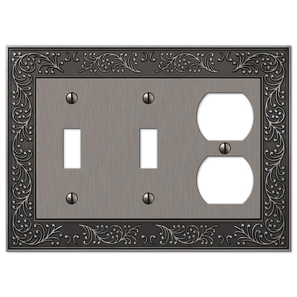 Bleinhem 3 Gang 2-Toggle and 1-Duplex Metal Wall Plate - Antique Nickel