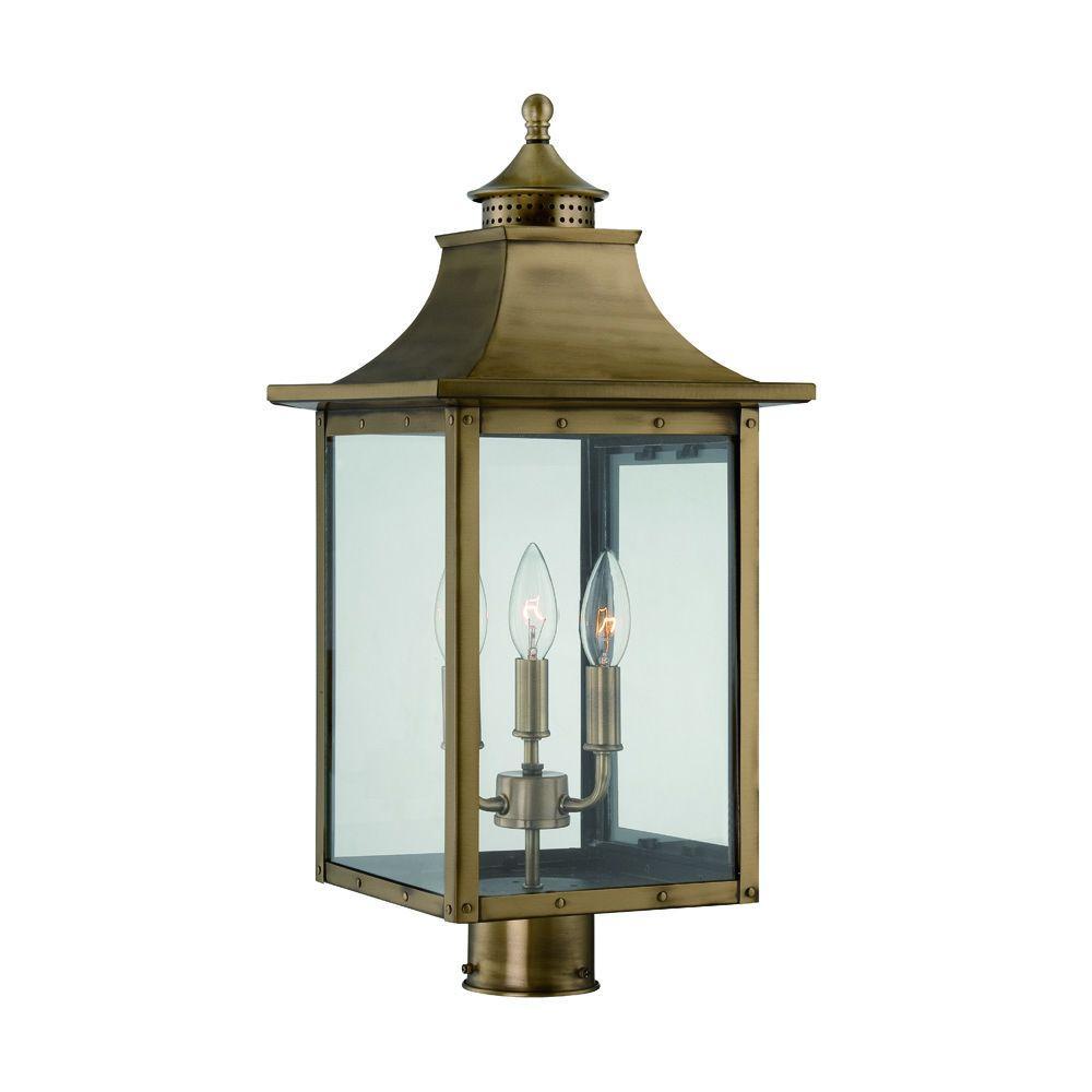 St. Charles 3 Light Aged Brass Outdoor Post Light Fixture