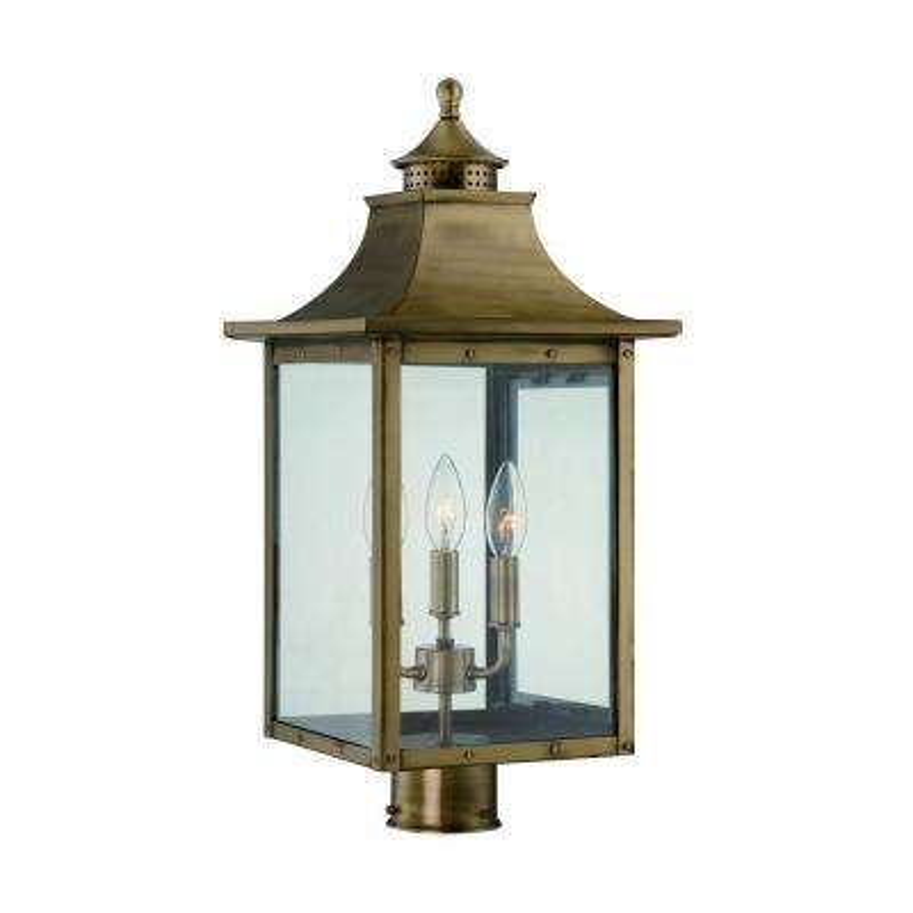 St. Charles 3-Light Aged Brass Outdoor Post Light Fixture