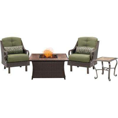 Ventura 3 Piece Patio Seating Set With Tile Top Fire Pit With Vintage Meadow