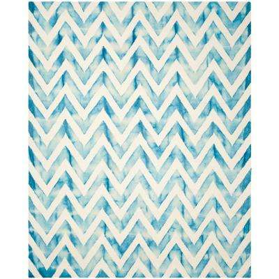 Dip Dye Ivory/Turquoise 9 ft. x 12 ft. Area Rug
