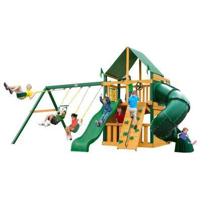 Mountaineer Clubhouse Swing Set with Timber Shield and Deluxe Green Vinyl Canopy