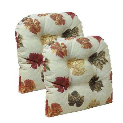"Gripper Non-Slip 15"" x 15"" Falling Leaves Tufted Universal Chair Cushions (Set of 2)"