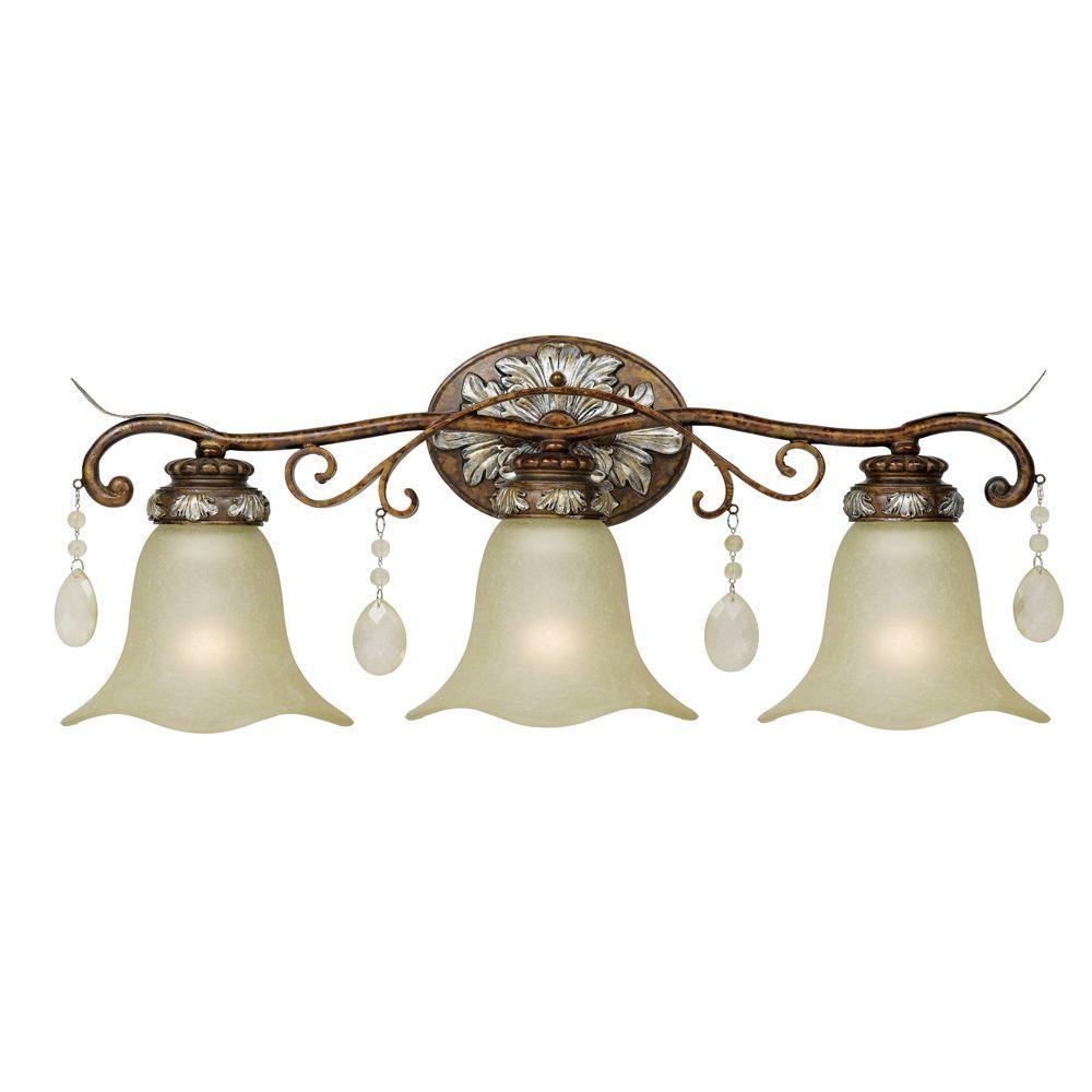 3-Light Oxide Bronze with Silver Bath Bar Light