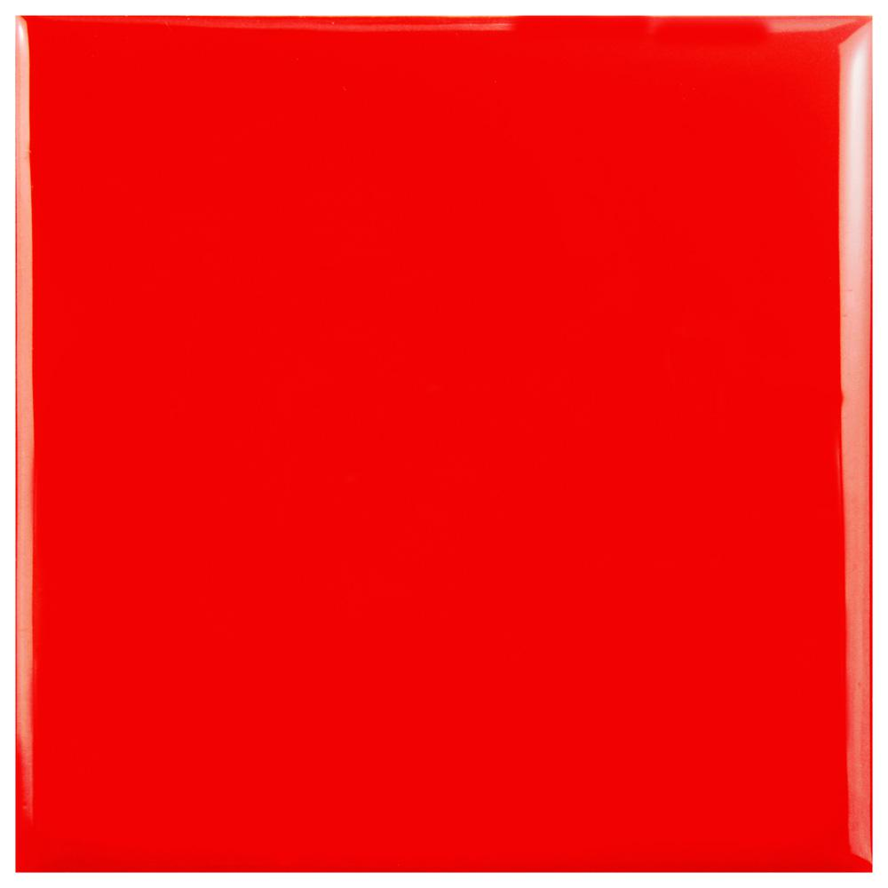Merola Tile Twist Square Red Cherry 3-7/8 in  x 3-7/8 in  Ceramic Wall Tile