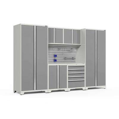 Pro Series 3.0 85.25 in. H x 128 in. W x 24 in. D 18-Gauge Steel Cabinet Set in Platinum (9-Piece)