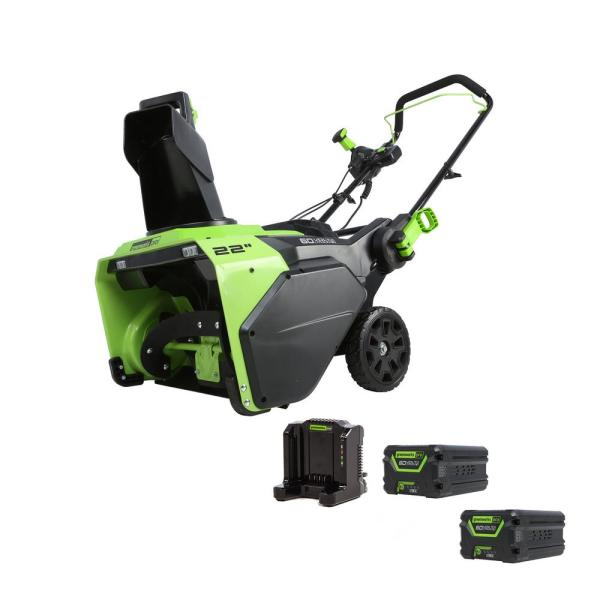 PRO 60-Volt 22 in. Single-Stage Cordless Electric Snow Blower with 2 5.0 Ah Batteries and Dual Port Charger Included