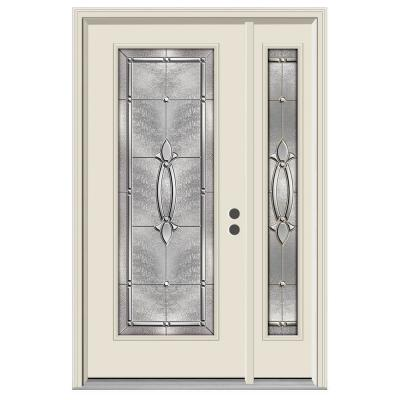 52 in. x 80 in. Full Lite Blakely Primed Steel Prehung Left-Hand Inswing Front Door with Right-Hand Sidelite