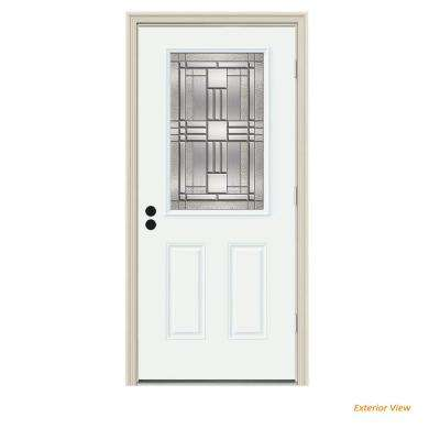 36 in. x 80 in. 1/2 Lite Cordova White Painted Steel Prehung Left-Hand Outswing Front Door w/Brickmould