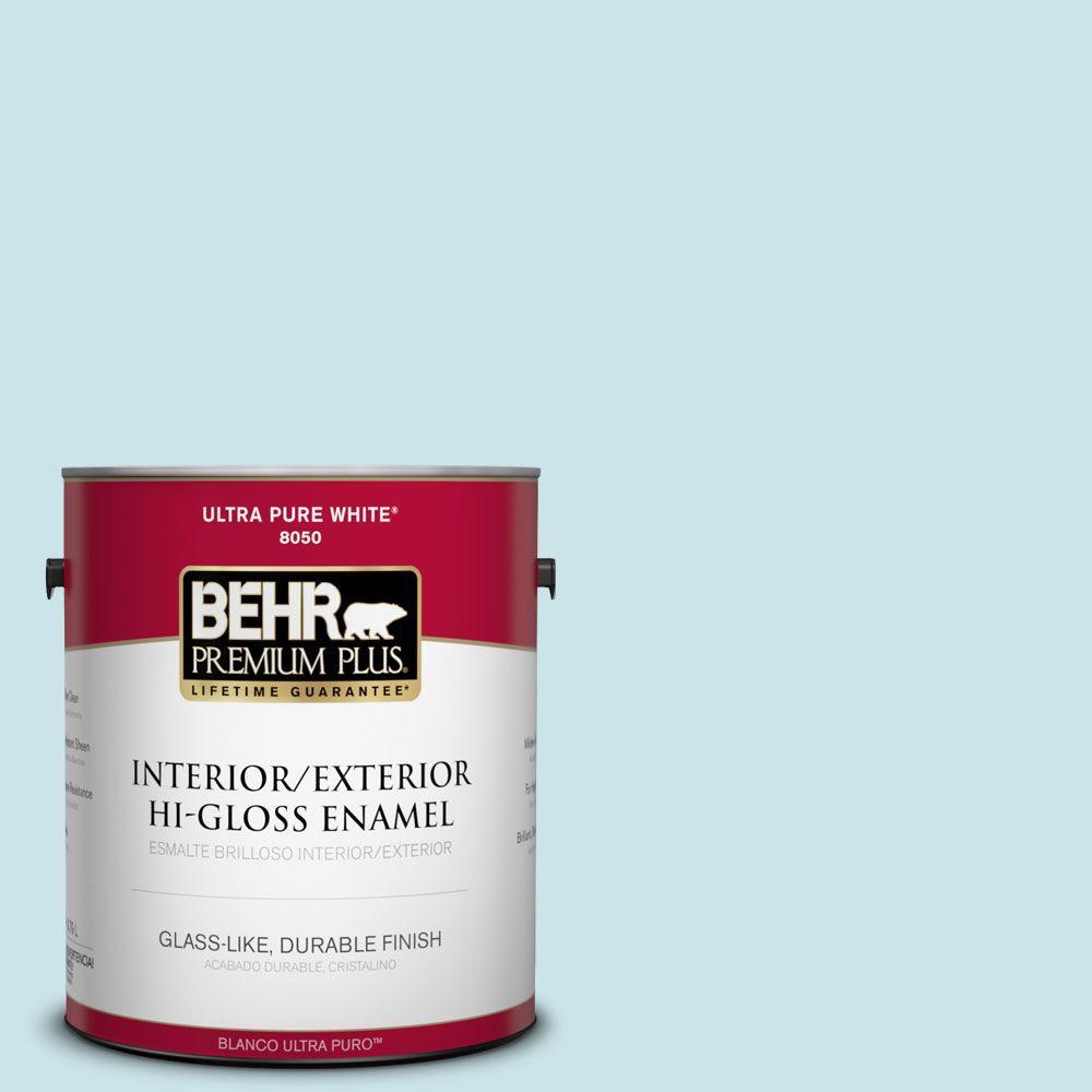 BEHR Premium Plus 1-gal. #M470-1 Snowmelt Hi-Gloss Enamel Interior/Exterior Paint