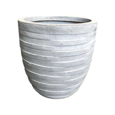 13.8 in. x 13.8 in. x 13.8 in. Light Grey Lightweight Concrete Rough Surface Small Round Planter