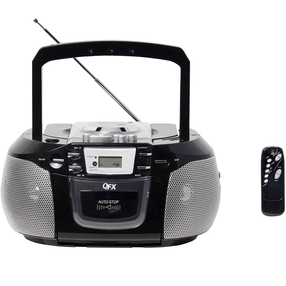 QFX Portable Stereo Radio with CD Player - Black-DISCONTINUED