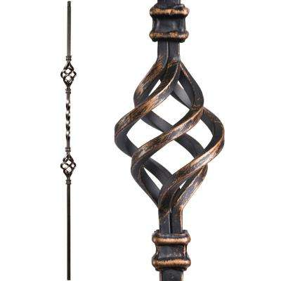 Twist and Basket 44 in. x 0.5 in. Oil Rubbed Bronze Double Basket Hollow Wrought Iron Baluster