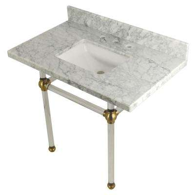 Square-Sink Washstand 36 in. Console Table in Carrara Marble with Acrylic Legs in Satin Brass