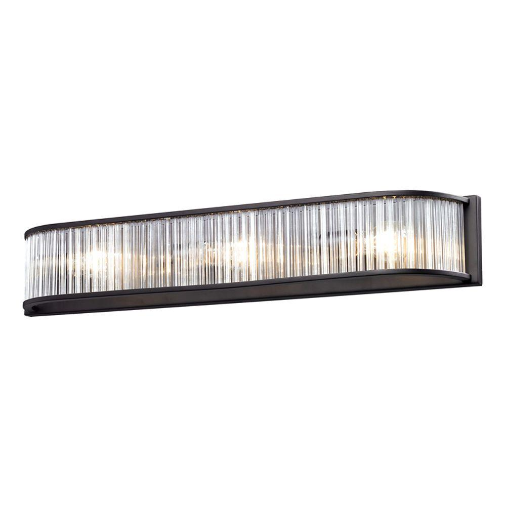 Titan Lighting Braxton 3-Light Aged Bronze Wall Mount Bath Bar Light ...