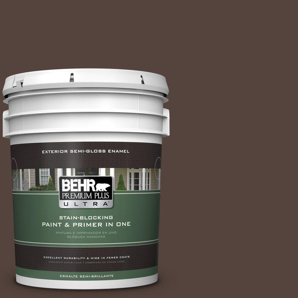 BEHR Premium Plus Ultra 5-gal. #780B-7 Bison Brown Semi-Gloss Enamel Exterior Paint