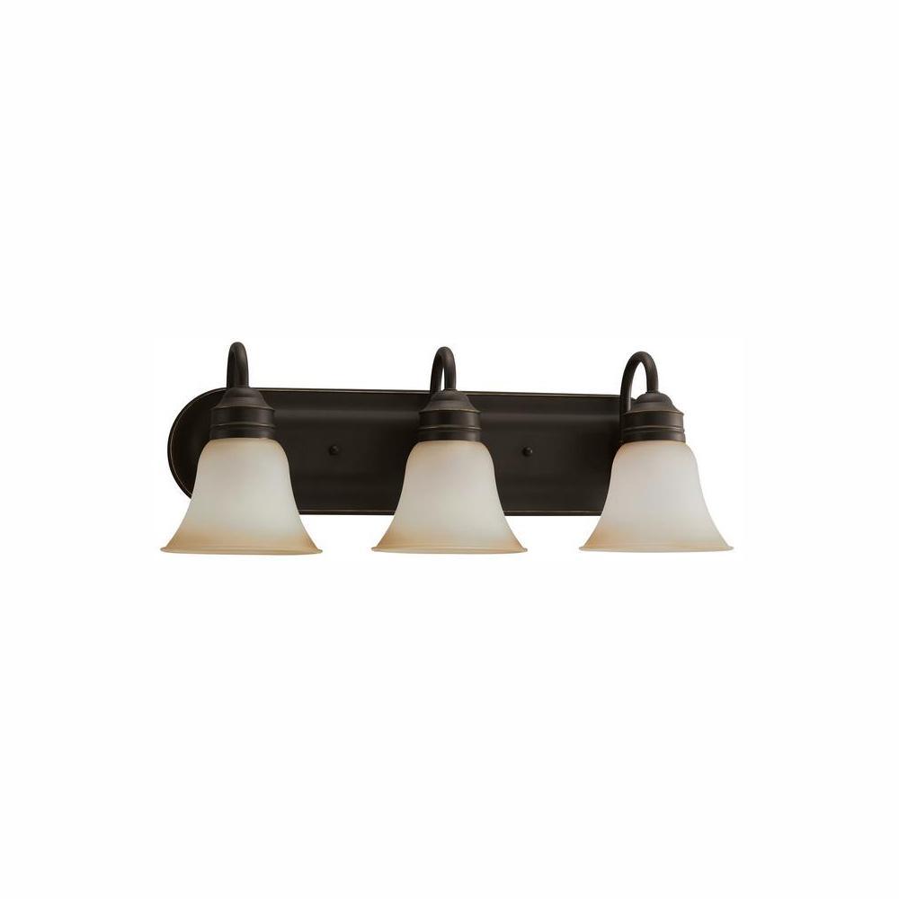 Gladstone 3-Light Heirloom Bronze Bath Light with LED Bulbs