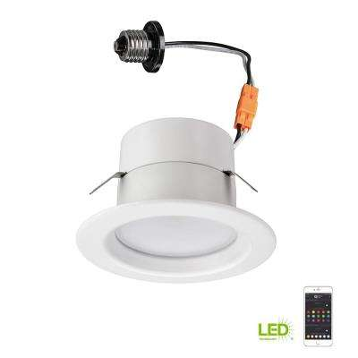 Bluetooth 4 in. 65W Equivalent White Integrated LED Color Selectable Recessed Downlight Trim Multi Color Changing