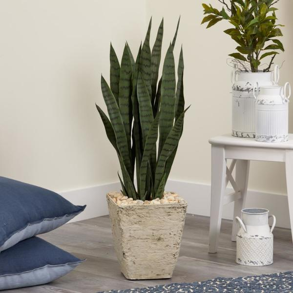 34 in. White Sansevieria Artificial Plant Country Planter