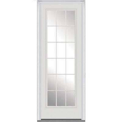 36 in. x 96 in. Clear Glass Right-Hand Full Lite 15-Lite Classic Painted Fiberglass Smooth Prehung Front Door