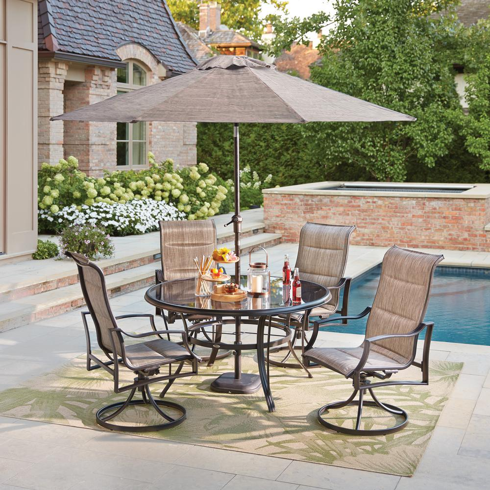 with dining patio sling frame hanover set piece monaco pd tan metal furniture outdoor shop cedar