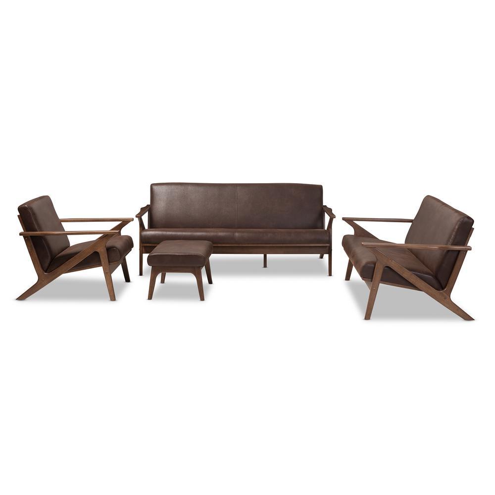 Baxton Studio Bianca 4-Piece Dark Brown/Walnut Brown Living Room Set ...