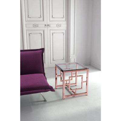 Geranium Rose Gold Glass Top Side Table