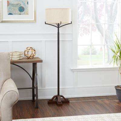 Ava 61.5 in. Black Floor Lamp with Linen Shade