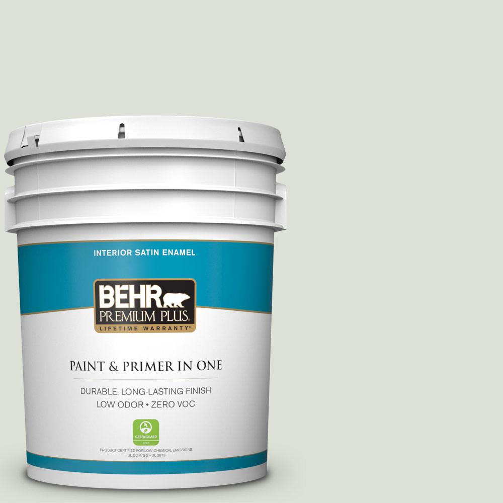 5 gal. #PPU10-12 Whitened Sage Satin Enamel Zero VOC Interior Paint