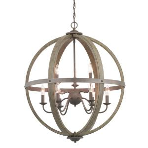 Keowee 9-Light Artisan Iron Orb Chandelier with Distressed Elm Wood Accents