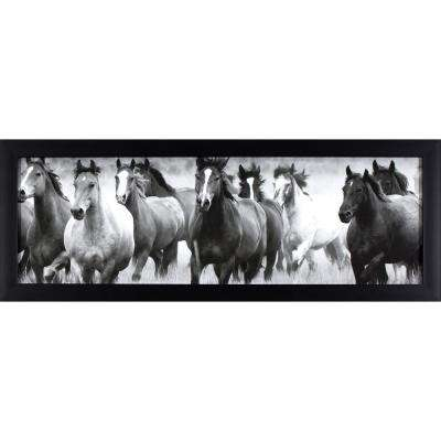 38 in. x 14 in. Running with the Horses Printed Framed Wall Art