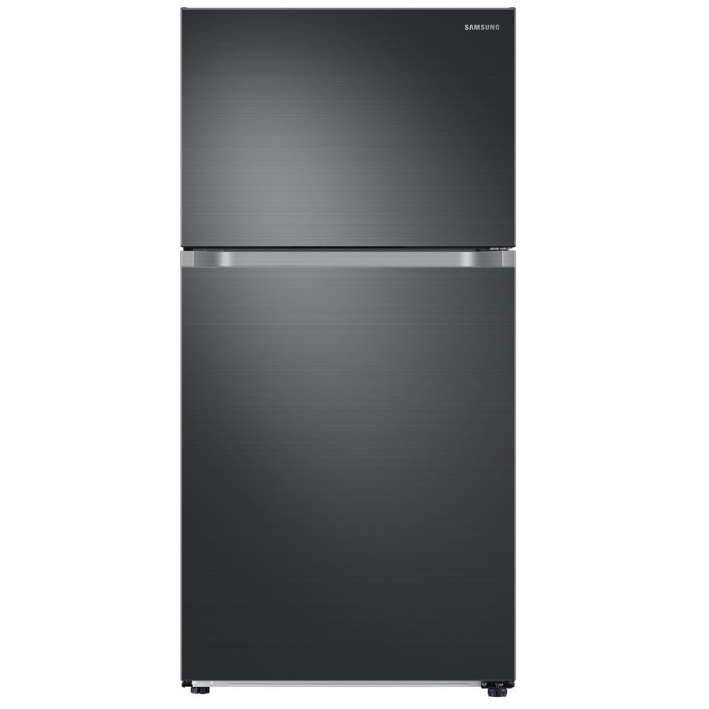 Samsung 21.1 cu. ft. Top Freezer Refrigerator with FlexZone in Fingerprint Resistant Black Stainless, Energy Star, Ice Maker This Samsung Top Freezer Refrigerator truly is one of a kind and unlike any other. Featuring FlexZone, which is a versatile top door that can be a fridge or freezer, maximizing fresh food storage space. This allows you to expand your refrigerator space to chill your favorite beverages, snacks or party food. Unless you simply keep it as a freezer, but this is completely up to you. It also has Twin Cooling Plus, which maintains the humidity level of the refrigerator keeping foods fresher, longer. For example, dry freezer conditions for less freezer burn and better tasting foods. This particular model comes with an icemaker, but can also be purchased without (model #RT21M6213SG). Color: Fingerprint Resistant Black Stainless.