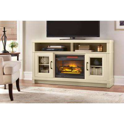 freestanding electric fireplace tv stand in antique white - Antique Tv Stands