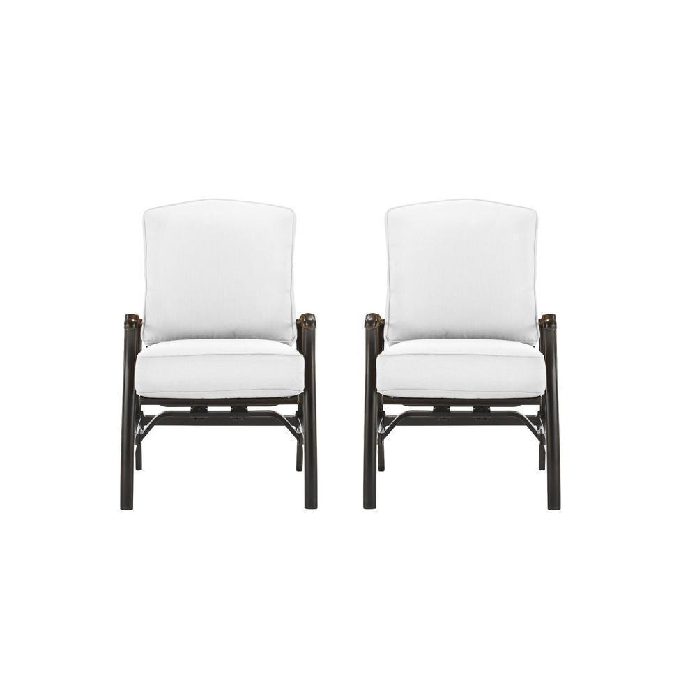 Ridge Falls Dark Brown Aluminum Outdoor Patio Motion Lounge Chair with Sunbrella Beige Tan Cushions (2-Pack)