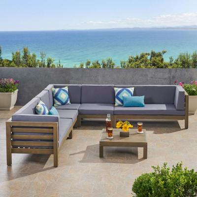 Oana Grey 6-Piece Wood Patio Conversation Sectional Seating Set with Dark Grey Cushions