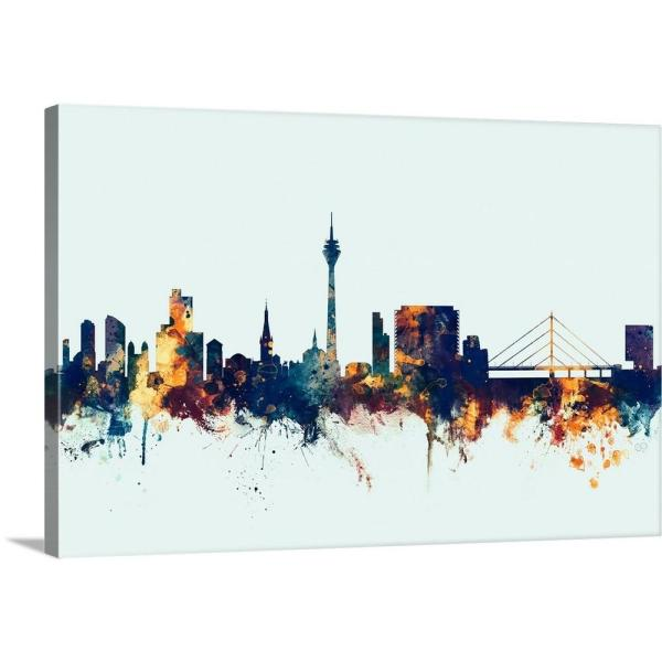 GreatBigCanvas ''Dsseldorf Germany Skyline'' by Michael Tompsett Canvas Wall Art