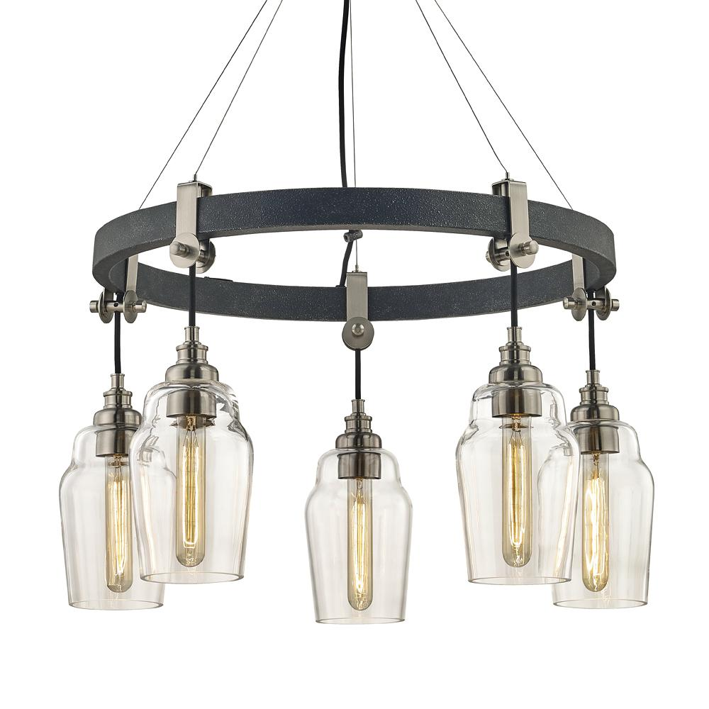 Fifth And Main Lighting Dublin 5 Light Old Silver Brushed Nickel Pendant With Vintage Bulbs