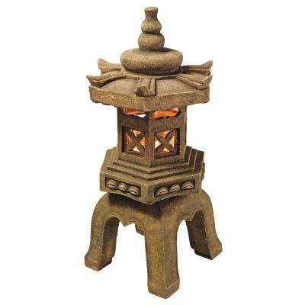 27 in. H Sacred Pagoda Lantern Illuminated Garden Statue