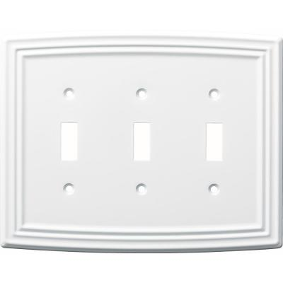 White 3-Gang 3-Toggle Wall Plate (1-Pack)