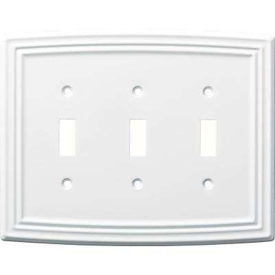 Emery Decorative Triple Light Switch Cover, Pure White