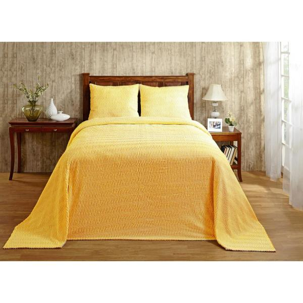 Natick Chenille 1 Piece Yellow Twin Bedspread