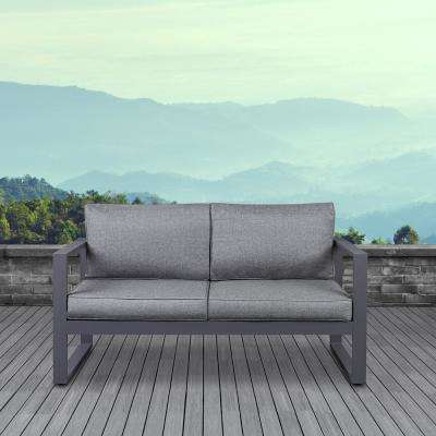 Baltic Gray Powder Coated Aluminum Outdoor Loveseat with Gray Cushions