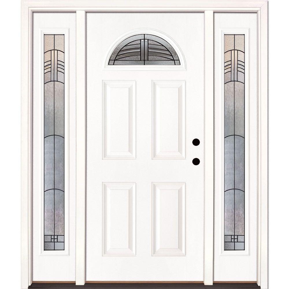 Feather River Doors 63.5 in. x 81.625 in. Rochester Patina Fan Lite Unfinished Smooth Left-Hand Fiberglass Prehung Front Door with Sidelites