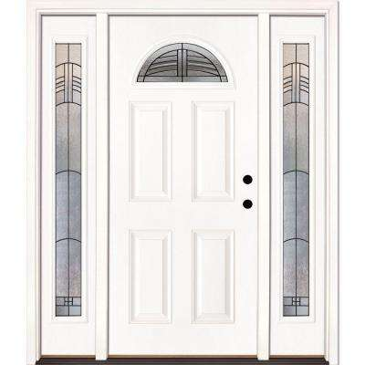 67.5 in. x 81.625 in. Rochester Patina Fan Lite Unfinished Smooth Left-Hand Fiberglass Prehung Front Door with Sidelites