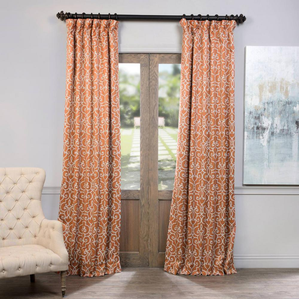 Semi-Opaque Nouveau Rust Blackout Curtain - 50 in. W x 84