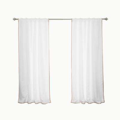 Oxford Outdoor 52 in. W x 84 in. L Small Wheat Border Curtains in White (2-Pack)